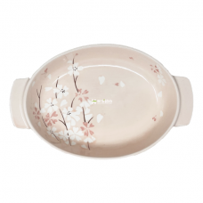 "13"" Sakura Plate with Handle-Pink Cherry Blossom"