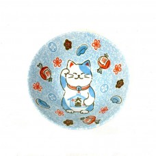 Japanese Bowl Lucky Cat Blue