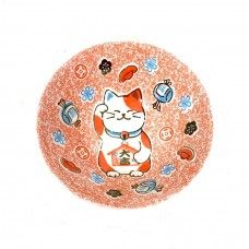 Japanese Bowl Lucky Cat Pink